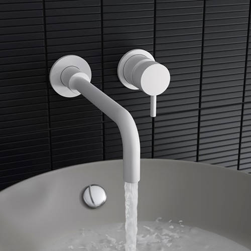 Additional image for Wall Mounted Basin Mixer Tap (2 Hole, Matt White).
