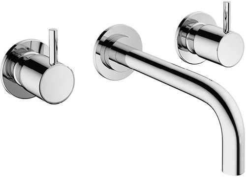 Additional image for Wall Mounted Basin Mixer Tap (3 Hole, Chrome).
