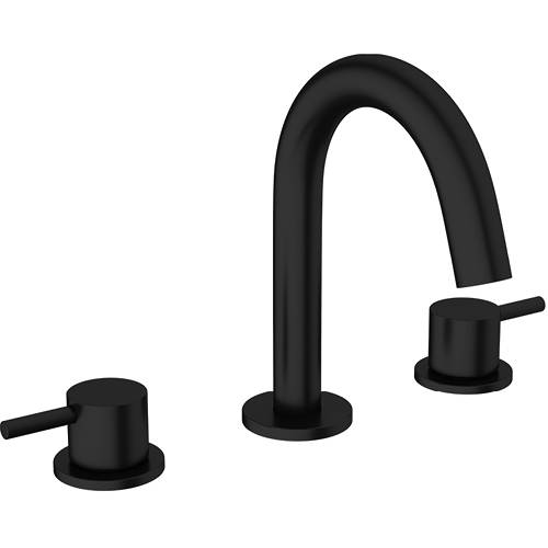 Additional image for Basin Mixer Tap (3 Hole, Matt Black).