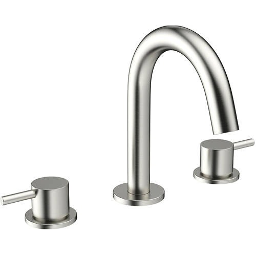 Additional image for Basin Mixer Tap (3 Hole, Brushed Stainless Steel).