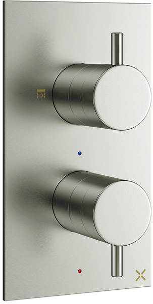 Additional image for Thermostatic Shower Valve With 2 Outlets (B Steel).