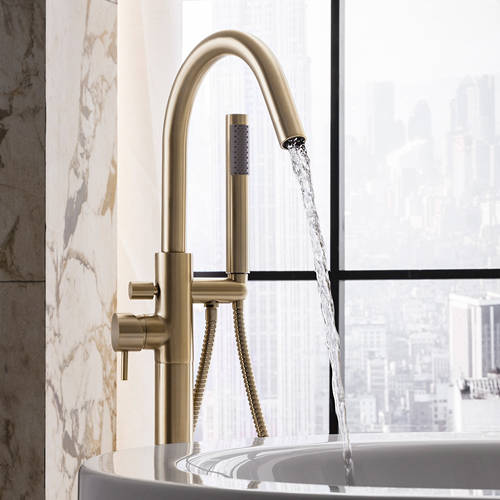 Additional image for Floorstanding Bath Shower Mixer Tap (Brushed Brass).