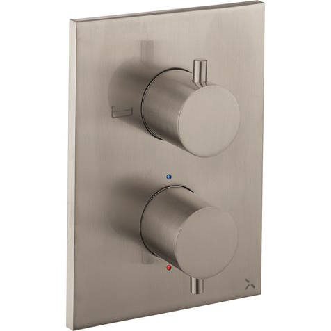 Additional image for Crossbox 2 Outlet Shower / Bath Valve (Brushed Steel).