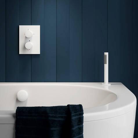 Additional image for Crossbox 2 Outlet Shower / Bath Valve (Matt White).