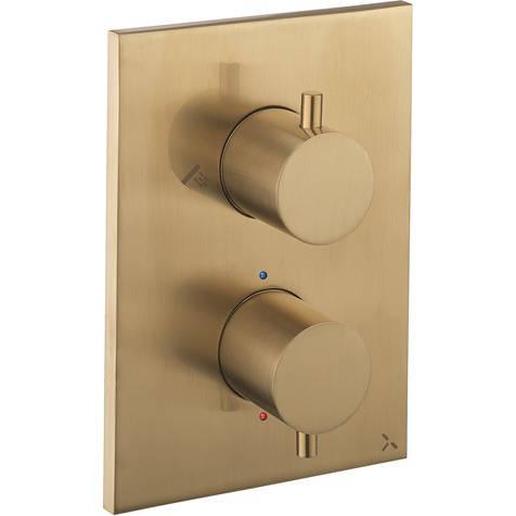 Additional image for Crossbox 2 Outlet Shower Valve (Brushed Brass).
