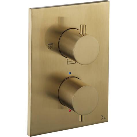 Additional image for Crossbox 3 Outlet Shower / Bath Valve (Brushed Brass).