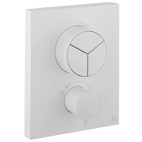 Additional image for Crossbox Push 3 Outlet Shower Valve (Matt White).