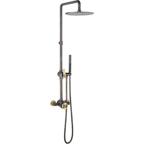 Additional image for Thermostatic Shower Set (Black & Brass).