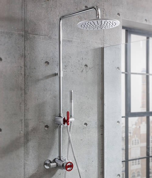 Additional image for Thermostatic Multifunction Shower Set (Chrome & Red)