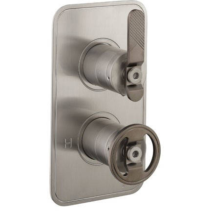 Additional image for Thermostatic Shower Valve (2 Outlets, Nickel & Black).