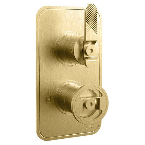 Additional image for Thermostatic Shower Valve (1 Outlet, Brushed Brass).