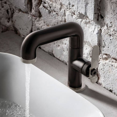 Additional image for Basin Mixer Tap With Nickel Lever Handle (Brushed Black).