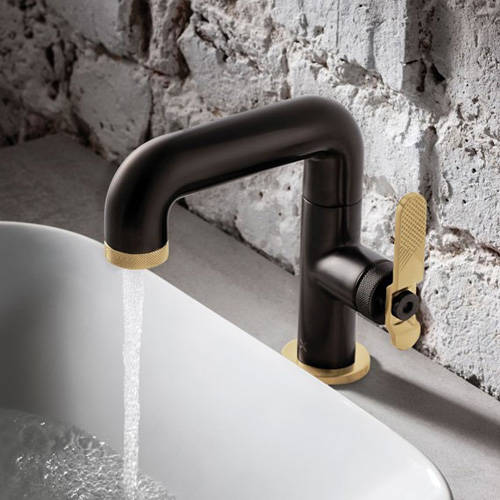 Additional image for Basin Mixer Tap With Brass Lever Handle (Brushed Black).