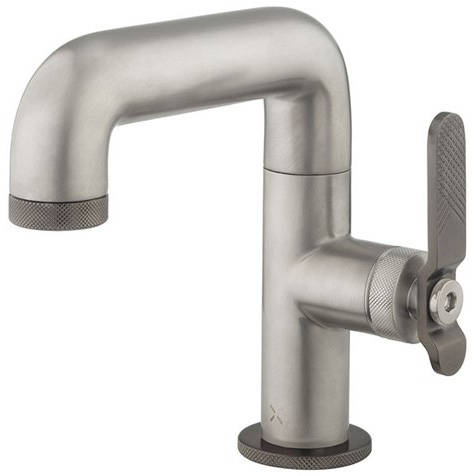 Additional image for Basin Mixer Tap With Black Lever Handle (Brushed Nickel).