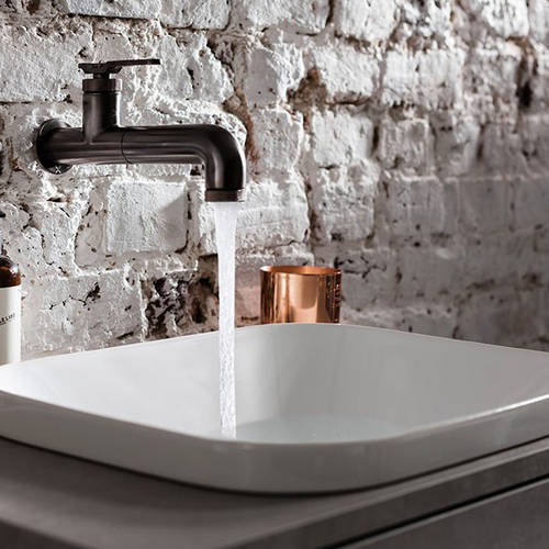 Additional image for Single Hole Wall Mounted Basin Mixer Tap (Brushed Black).
