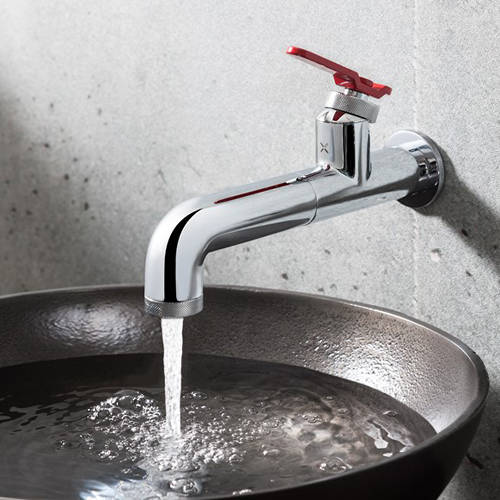 Additional image for Single Hole Wall Mounted Basin Mixer Tap (Chrome & Red).