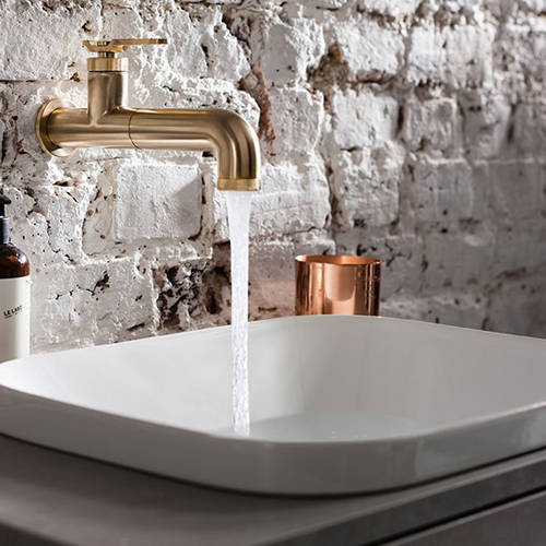 Additional image for Single Hole Wall Mounted Basin Mixer Tap (Brushed Brass).