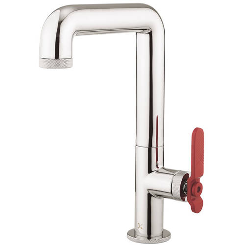 Additional image for Tall Basin Mixer Tap With Red Lever Handle (Chrome).