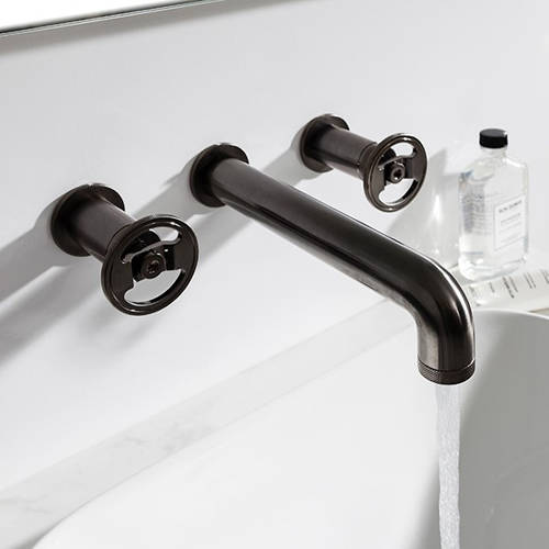 Additional image for Three Hole Wall Mounted Basin Mixer Tap (Brushed Black).