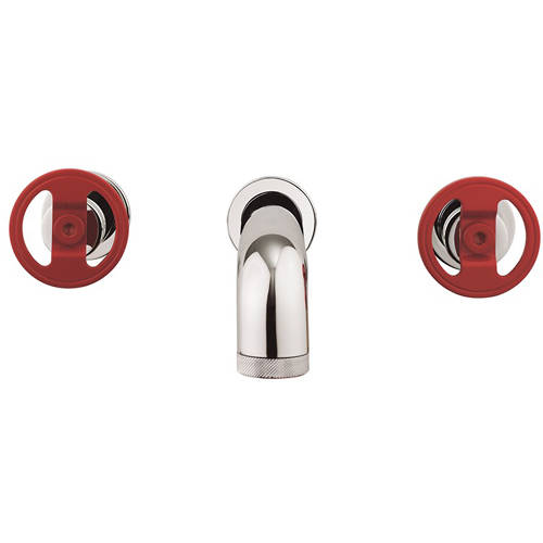Additional image for Three Hole Wall Mounted Basin Mixer Tap (Chrome & Red).