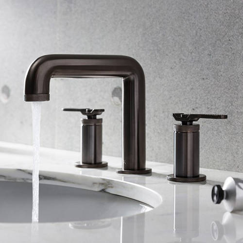 Additional image for Three Hole Deck Mounted Basin Mixer Tap (Brushed Black).