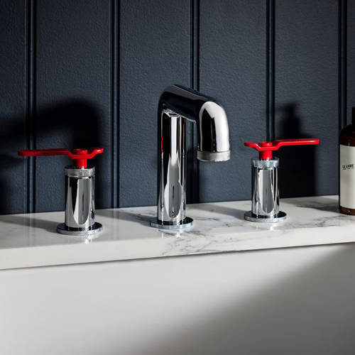 Additional image for Three Hole Deck Mounted Basin Mixer Tap (Chrome & Red).