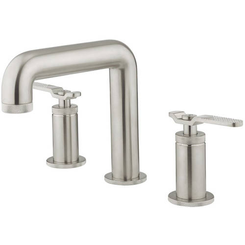 Additional image for Three Hole Deck Mounted Basin Mixer Tap (Brushed Nickel).