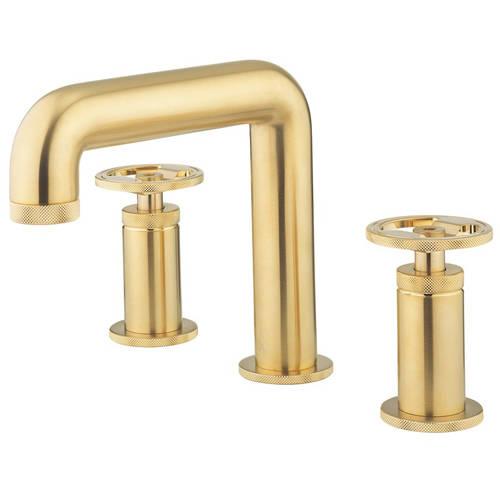 Additional image for Three Hole Deck Mounted Basin Mixer Tap (Brushed Brass).