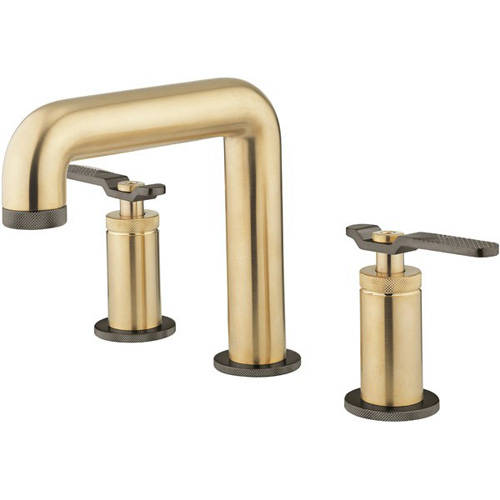 Additional image for 3 Hole Basin Mixer Tap (Brushed Brass & Black Chrome).