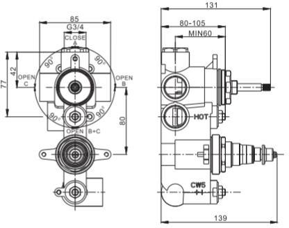 Additional image for Thermostatic Shower Valve (2 Outlets, Brushed Black).