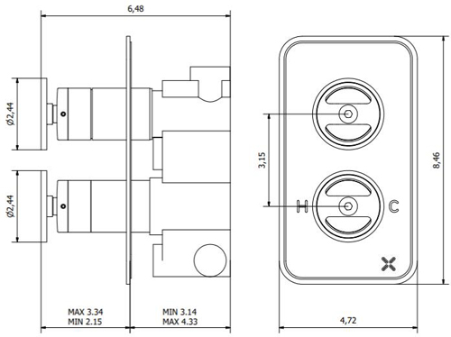 Additional image for Thermostatic Shower Valve (2 Outlets, Chrome).