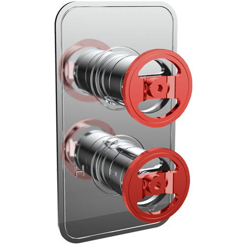 Additional image for Thermostatic Shower Valve (2 Outlets, Chrome & Red).