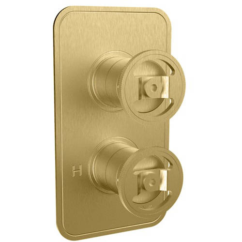 Additional image for Thermostatic Shower Valve (2 Outlets, Brushed Brass).