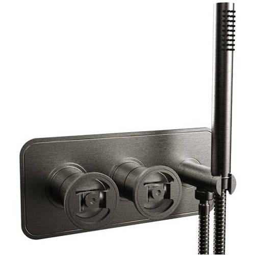 Additional image for Shower Valve With Handset (2-Way, Brushed Black).