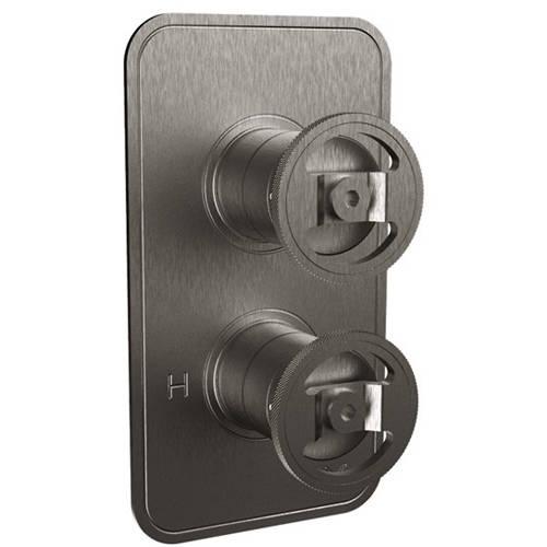Additional image for Thermostatic Shower Valve (3 Outlets, Brushed Black).