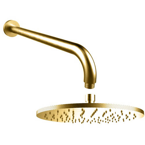 Additional image for 250mm Round Shower Head & Arm (Brushed Brass).