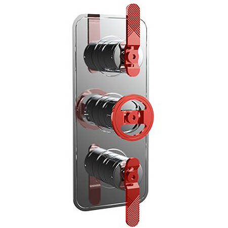 Additional image for Thermostatic Shower Valve (3 Outlets, Chrome & Red).