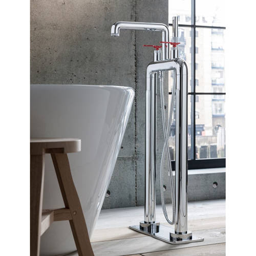 Additional image for Free Standing BSM Tap With Red Lever Handles (Chrome).