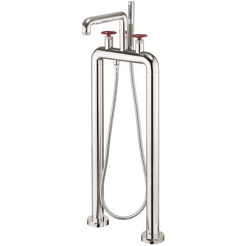 Additional image for Free Standing BSM Tap With Red Wheel Handles (Chrome).