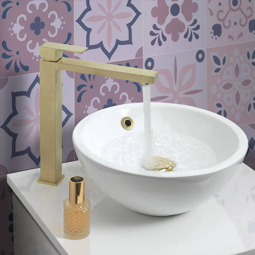 Additional image for Tall Basin Mixer Tap (Brushed Brass).