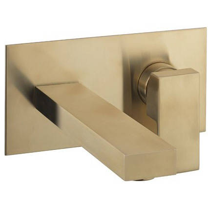 Additional image for Wall Mounted Basin Mixer Tap (Brushed Brass).