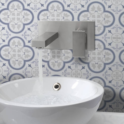 Additional image for Wall Mounted Basin Mixer Tap (Brushed Stainless Steel).