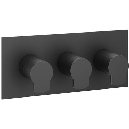 Additional image for Shower Valve With 2 Outlets & Diverter (Matt Black).