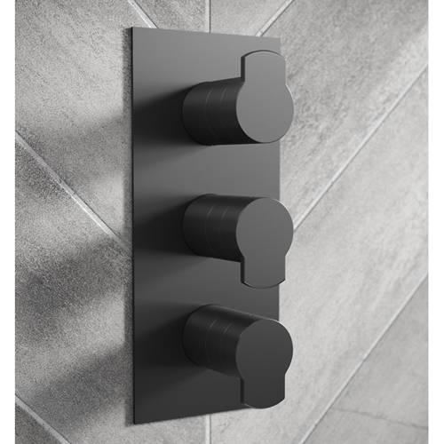 Additional image for Shower Valve With 3 Outlets & Diverter (Matt Black).