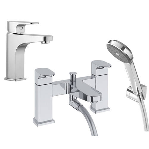 Additional image for Basin & Bath Shower Mixer Tap With Kit (Chrome).