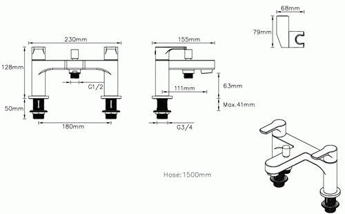 Additional image for Basin & Bath Shower Mixer Tap Pack With Kit (Chrome).
