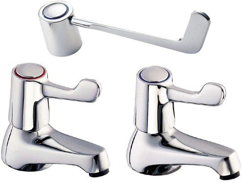"Additional image for Lever Bath Taps With 6"" Long Handles (Pair)."