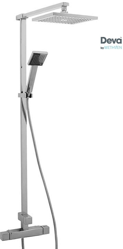 Additional image for Modern Thermostatic Bar Shower Valve With Rigid Riser Kit.