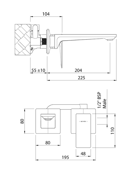Additional image for Wall Mounted Basin Or Bath Mixer Tap (Chrome).