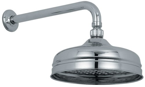 "Additional image for Traditional 8"" fixed shower head and arm in chrome."
